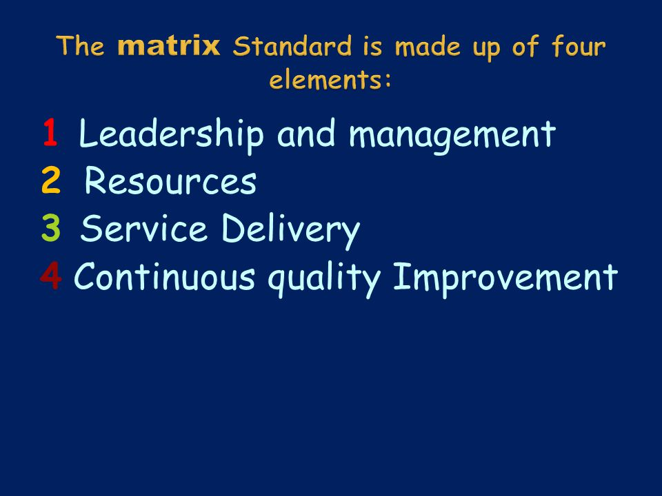 1 Leadership and management 2 Resources 3 Service Delivery 4 Continuous quality Improvement