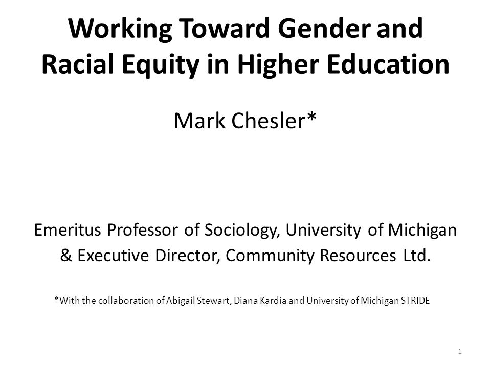 Lowered success rate Evaluation bias Performance is underestimated Accumulation of disadvantage Gender / race schemas Lack of critical mass Self-reinforcing Cycle 32