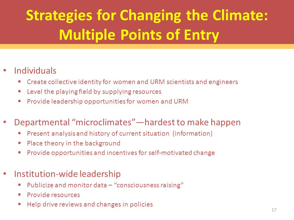 Strategies for Changing the Climate: Multiple Points of Entry Individuals  Create collective identity for women and URM scientists and engineers  Level the playing field by supplying resources  Provide leadership opportunities for women and URM Departmental microclimates —hardest to make happen  Present analysis and history of current situation (information)  Place theory in the background  Provide opportunities and incentives for self-motivated change Institution-wide leadership  Publicize and monitor data – consciousness raising  Provide resources  Help drive reviews and changes in policies 17