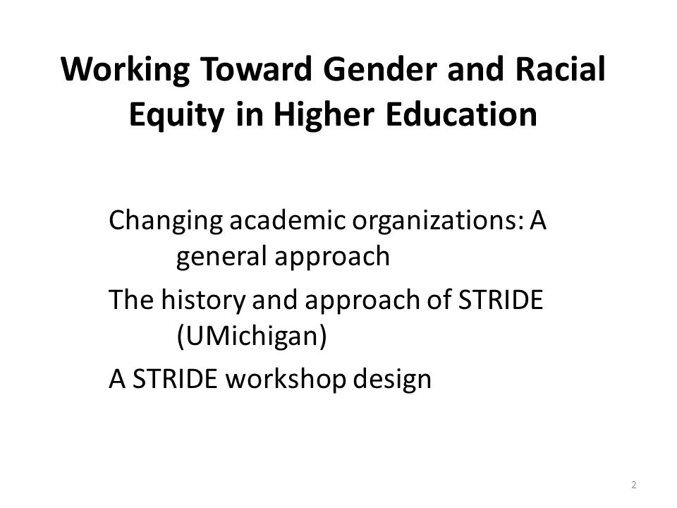 Working Toward Gender and Racial Equity in Higher Education Changing academic organizations: A general approach The history and approach of STRIDE (UMichigan) A STRIDE workshop design 2