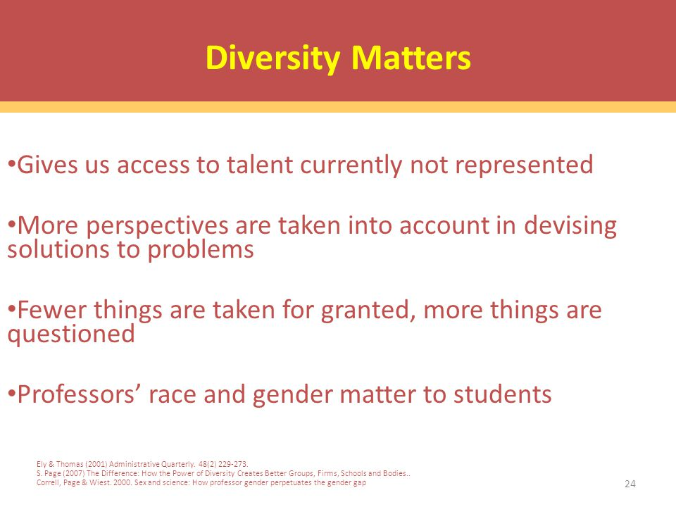 24 Diversity Matters Gives us access to talent currently not represented More perspectives are taken into account in devising solutions to problems Fewer things are taken for granted, more things are questioned Professors' race and gender matter to students Ely & Thomas (2001) Administrative Quarterly.