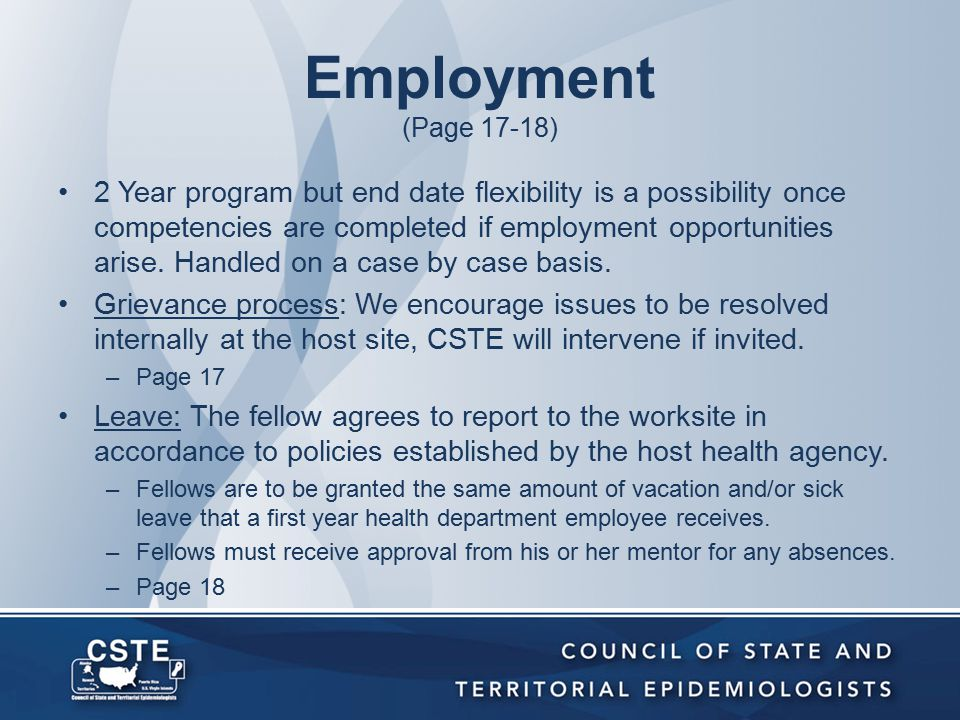Employment (Page 17-18) 2 Year program but end date flexibility is a possibility once competencies are completed if employment opportunities arise.