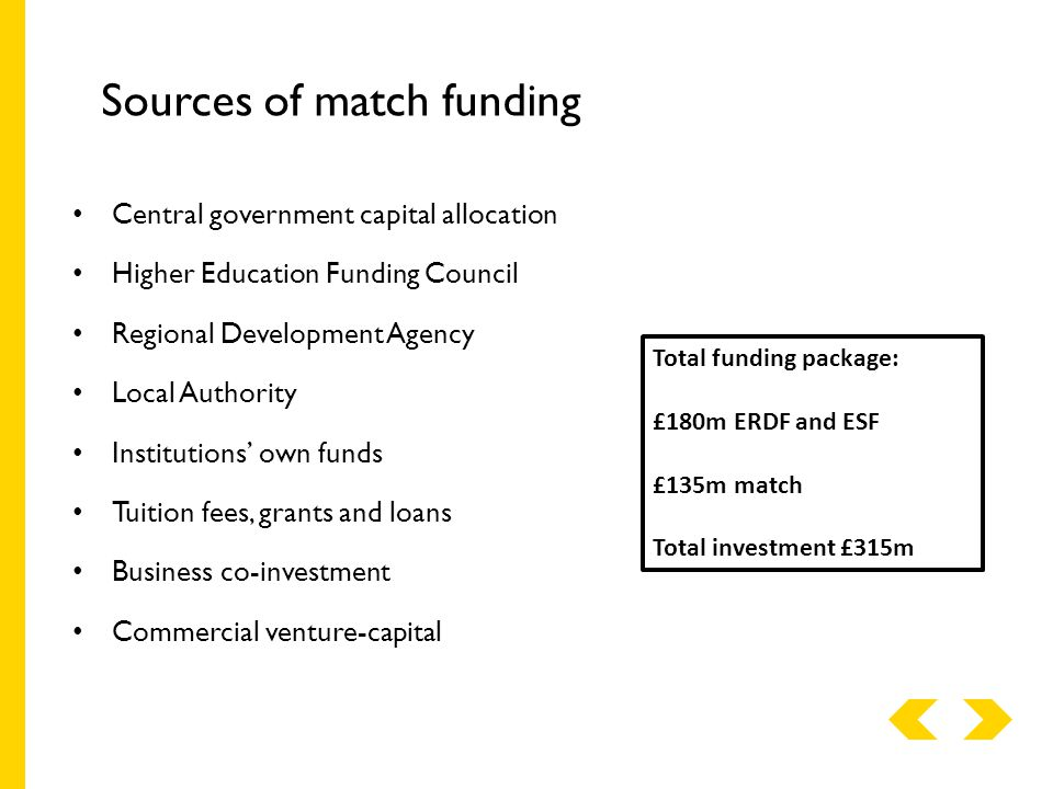 Sources of match funding Central government capital allocation Higher Education Funding Council Regional Development Agency Local Authority Institutions' own funds Tuition fees, grants and loans Business co-investment Commercial venture-capital Total funding package: £180m ERDF and ESF £135m match Total investment £315m