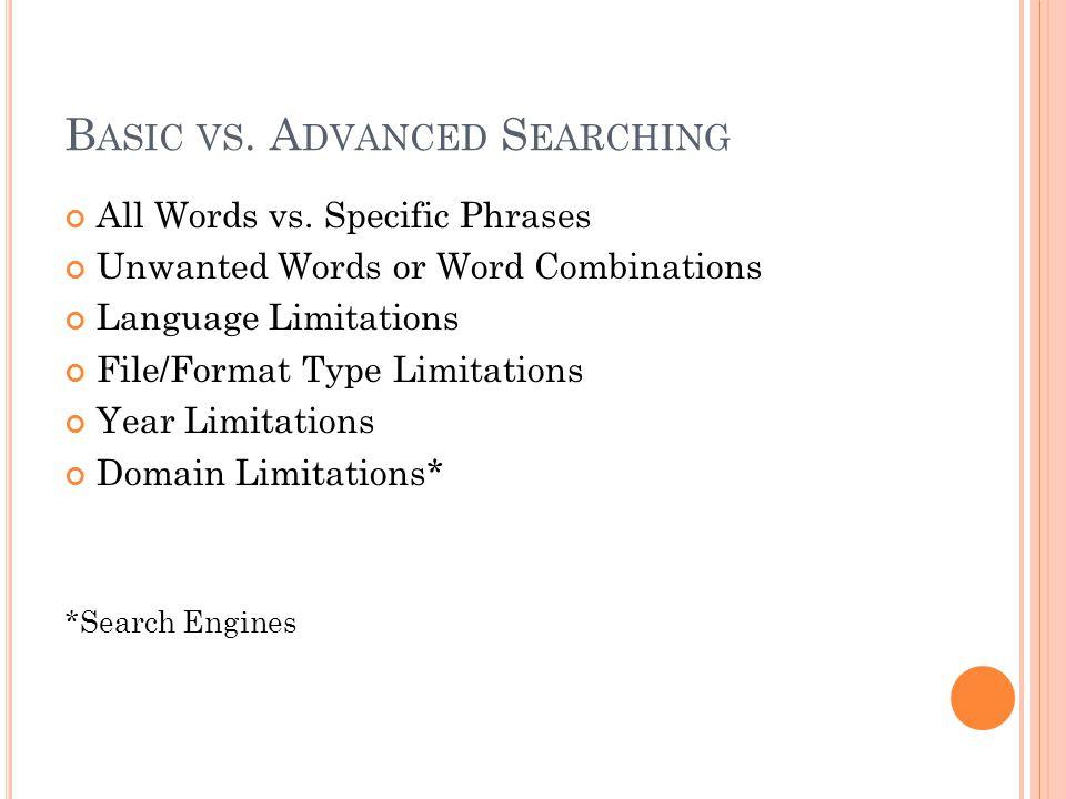 B ASIC VS. A DVANCED S EARCHING All Words vs.