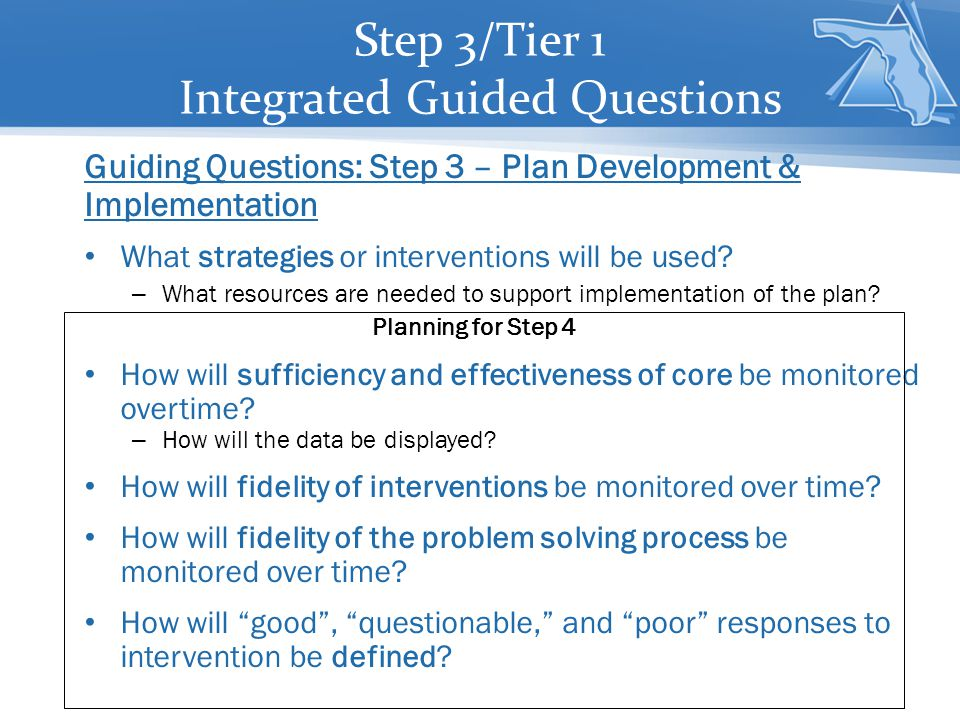 Guiding Questions: Step 3 – Plan Development & Implementation What strategies or interventions will be used.
