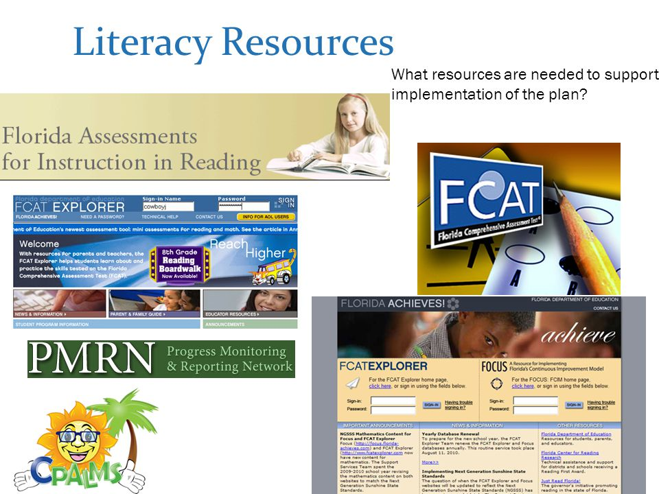 Literacy Resources What resources are needed to support implementation of the plan