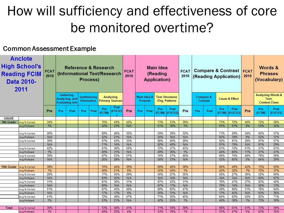 How will sufficiency and effectiveness of core be monitored overtime Common Assessment Example