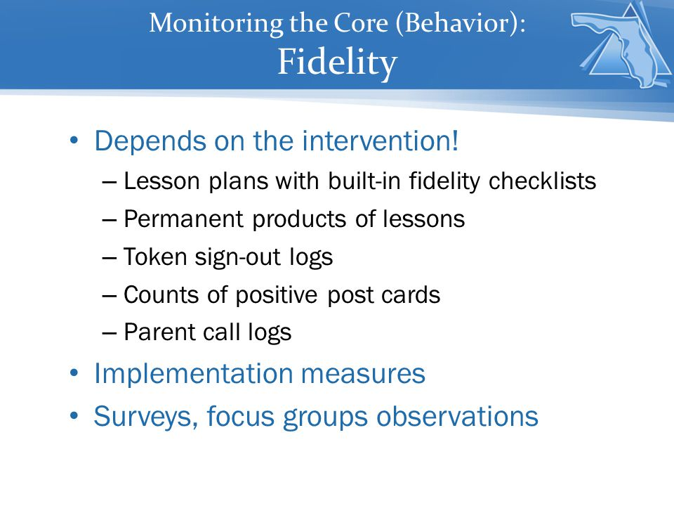 Monitoring the Core (Behavior): Fidelity Depends on the intervention.