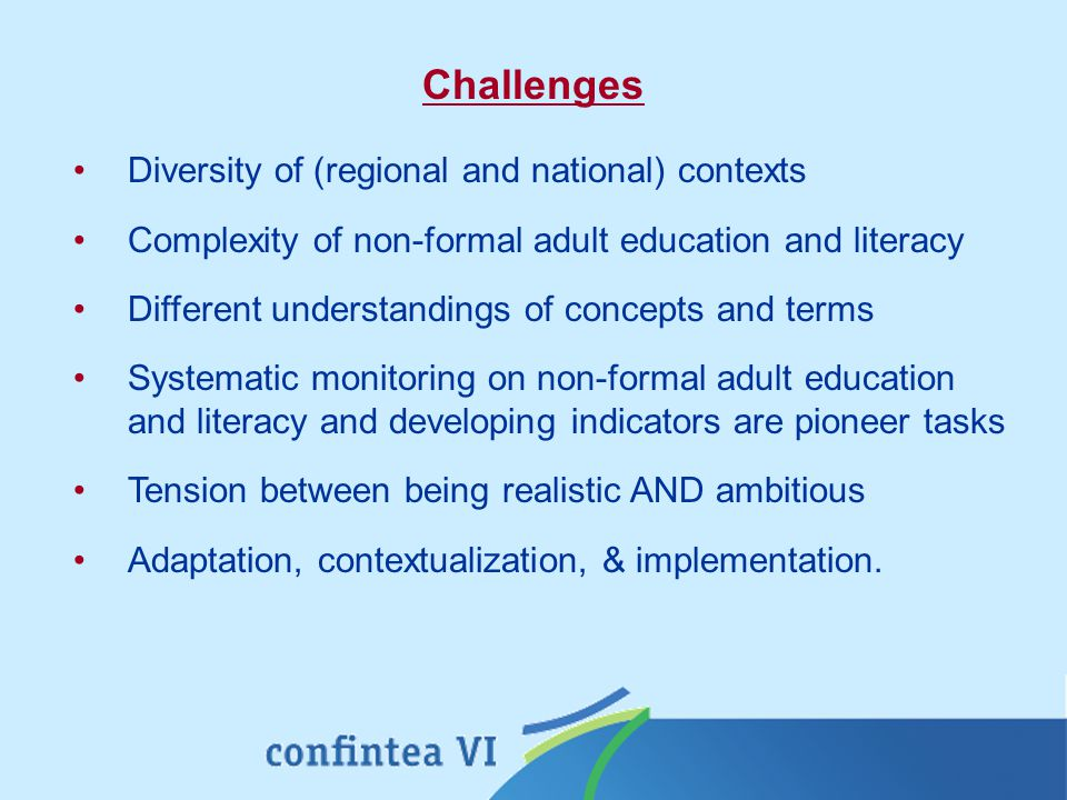 Diversity of (regional and national) contexts Complexity of non-formal adult education and literacy Different understandings of concepts and terms Systematic monitoring on non-formal adult education and literacy and developing indicators are pioneer tasks Tension between being realistic AND ambitious Adaptation, contextualization, & implementation.