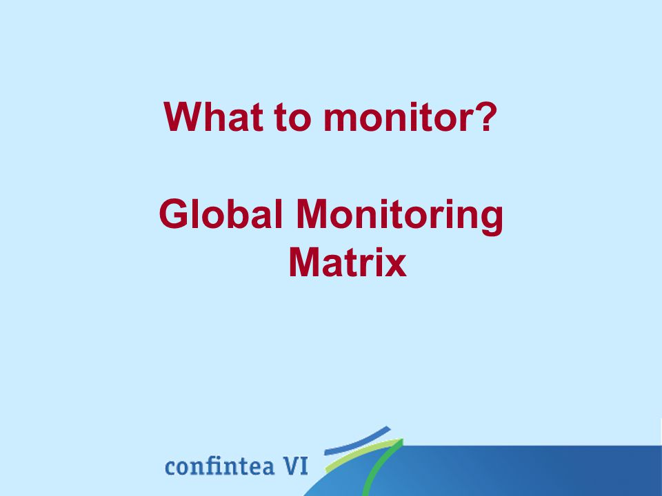 What to monitor? Global Monitoring Matrix