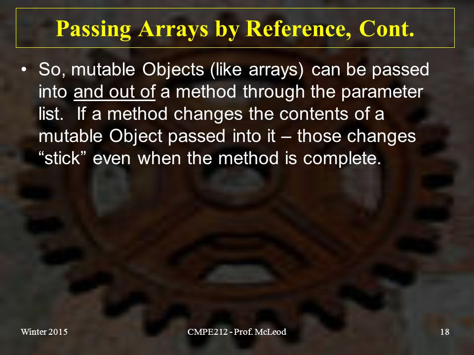 Passing Arrays by Reference, Cont.