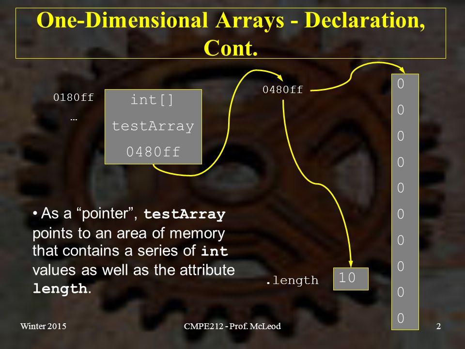 Winter 2015CMPE212 - Prof. McLeod2 00000000000000000000 One-Dimensional Arrays - Declaration, Cont.