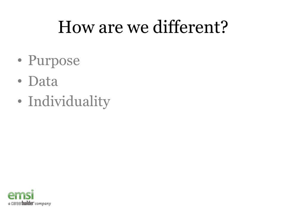How are we different? Purpose Data Individuality