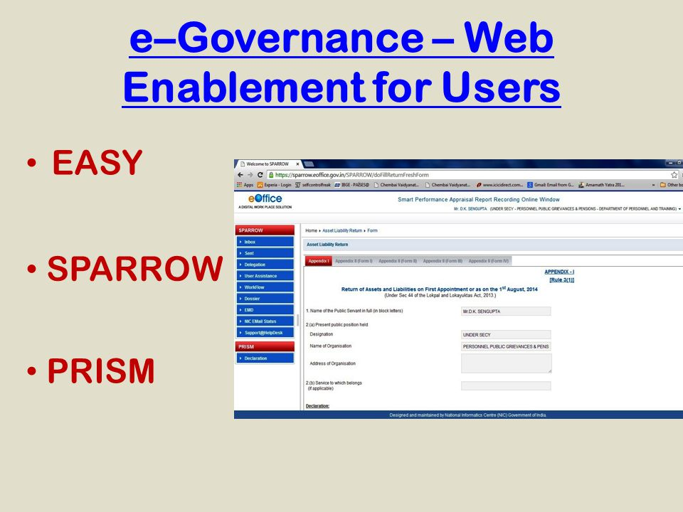 e–Governance – Web Enablement for Users EASY SPARROW PRISM