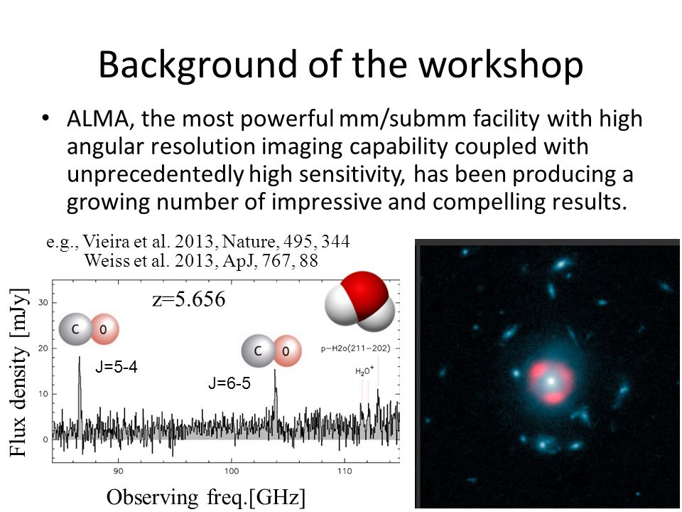 Background of the workshop It is also evident that many outstanding ALMA results often rely on wide area surveys using existing ground-based and space telescopes such as Nobeyama, Nanten, IRAM, JCMT, CSO, Mopra, SPT, ASTE, APEX, Herschel, and so on  emphasizing the importance of next generation large mm/submm survey telescopes, which will have large FoV (> 0.5 deg) and large instantaneous frequency coverage with large format bolometer/heterodyne arrays, to exploit ALMA capabilities.
