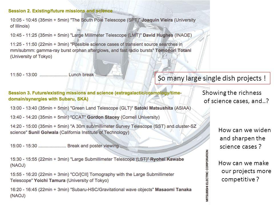 Exploring new parameter space Example 1Example 2Example 3Example 4 Area1 deg 2 10 deg 2 600 deg 2 100 deg 2 Cadence 4 epochs per month 2 epochs per month (×3 months) 25 epochs per month (Single epoch) Integration time per epoch 70 hours (~7 nights) 35 hours/deg 2 × 10 deg 2 ~ 15 full- days 1 min/deg 2 × 600 deg 2 = 10 hours ~ 1 night 22 hours/deg 2 (2 nights/deg 2 ) × 100 deg 2 ~ 200 nights Sensitivity (5σ) per epoch 0.2 mJy @1.1mm 0.1 mJy @2mm13 mJy @1.1mm 0.36 mJy @1.1mm Total observing time 70 hours × 4 epochs = 280 hours 350 hours × 6 epochs = 2100 hours 10 hours × 25 epochs = 250 hours 2200 hours comments For wondering BH survey ?.