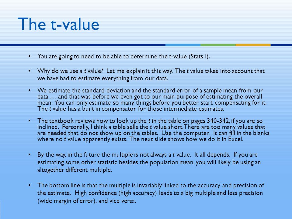 You are going to need to be able to determine the t-value (Stats I).