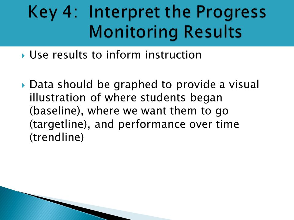  Use results to inform instruction  Data should be graphed to provide a visual illustration of where students began (baseline), where we want them t
