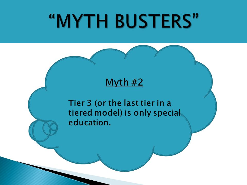 Myth #2 Tier 3 (or the last tier in a tiered model) is only special education.