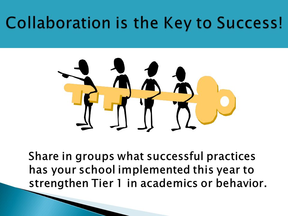Share in groups what successful practices has your school implemented this year to strengthen Tier 1 in academics or behavior.