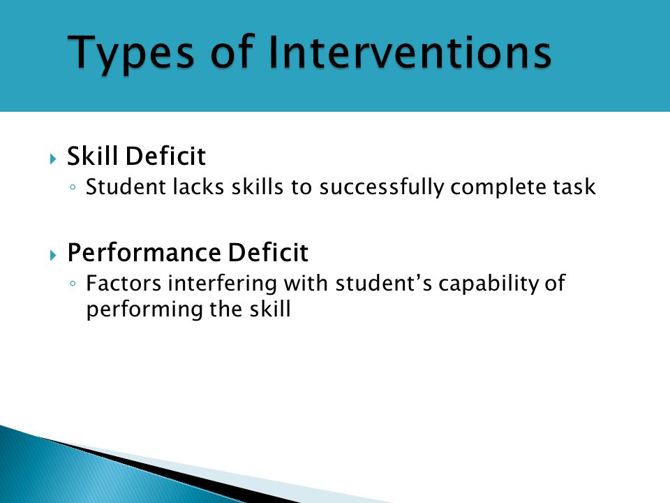 Types of Interventions  Skill Deficit ◦ Student lacks skills to successfully complete task  Performance Deficit ◦ Factors interfering with student's