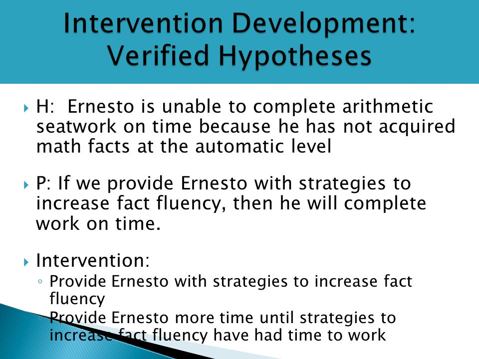 Intervention Development: Verified Hypotheses  H: Ernesto is unable to complete arithmetic seatwork on time because he has not acquired math facts at