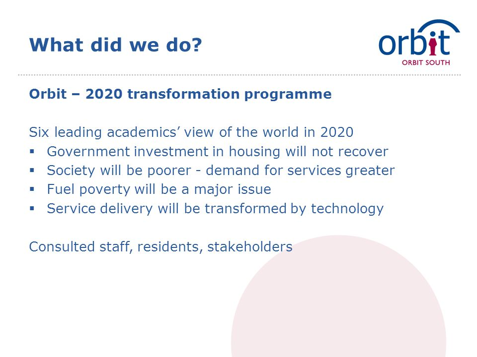 What did we do? Orbit – 2020 transformation programme Six leading academics' view of the world in 2020  Government investment in housing will not rec