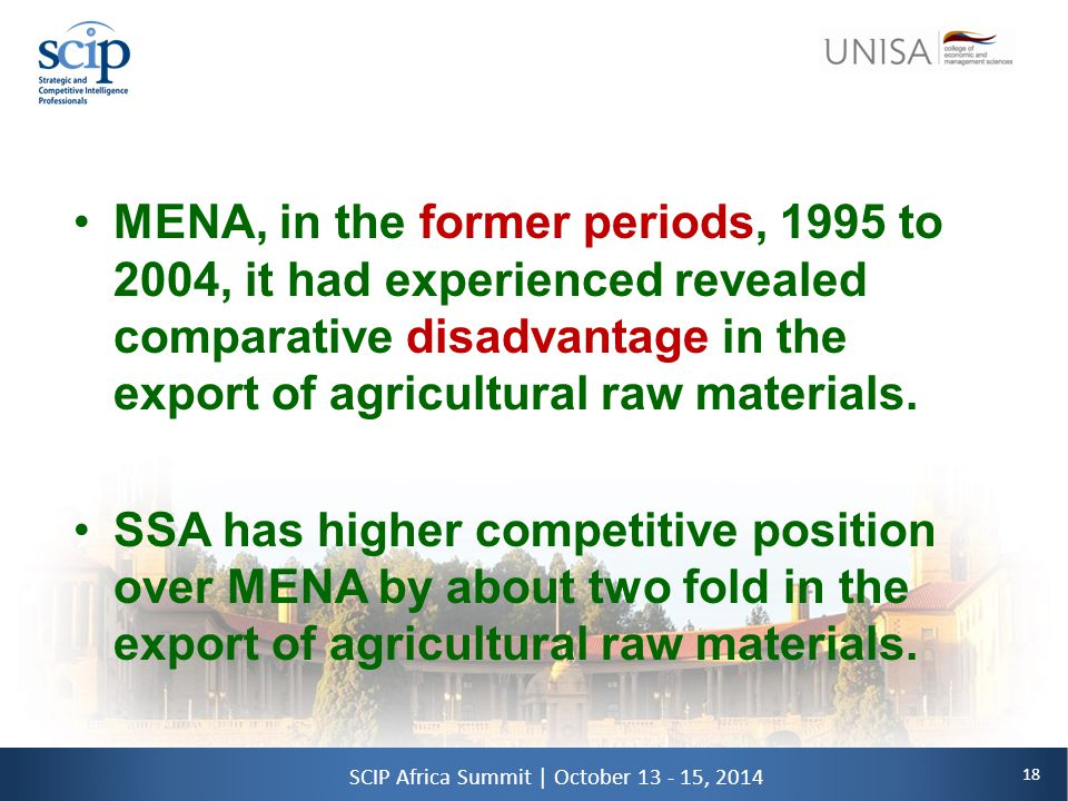 18 SCIP Africa Summit | October 13 - 15, 2014 MENA, in the former periods, 1995 to 2004, it had experienced revealed comparative disadvantage in the export of agricultural raw materials.