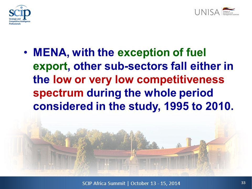 33 SCIP Africa Summit | October 13 - 15, 2014 MENA, with the exception of fuel export, other sub-sectors fall either in the low or very low competitiveness spectrum during the whole period considered in the study, 1995 to 2010.