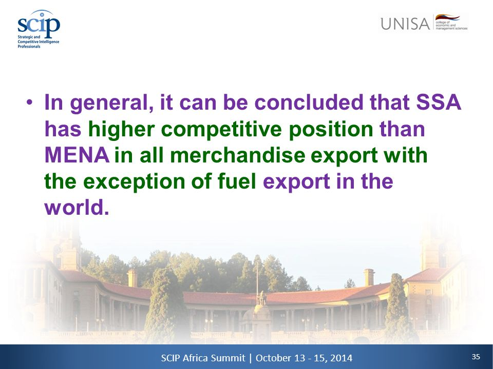 35 SCIP Africa Summit | October 13 - 15, 2014 In general, it can be concluded that SSA has higher competitive position than MENA in all merchandise export with the exception of fuel export in the world.