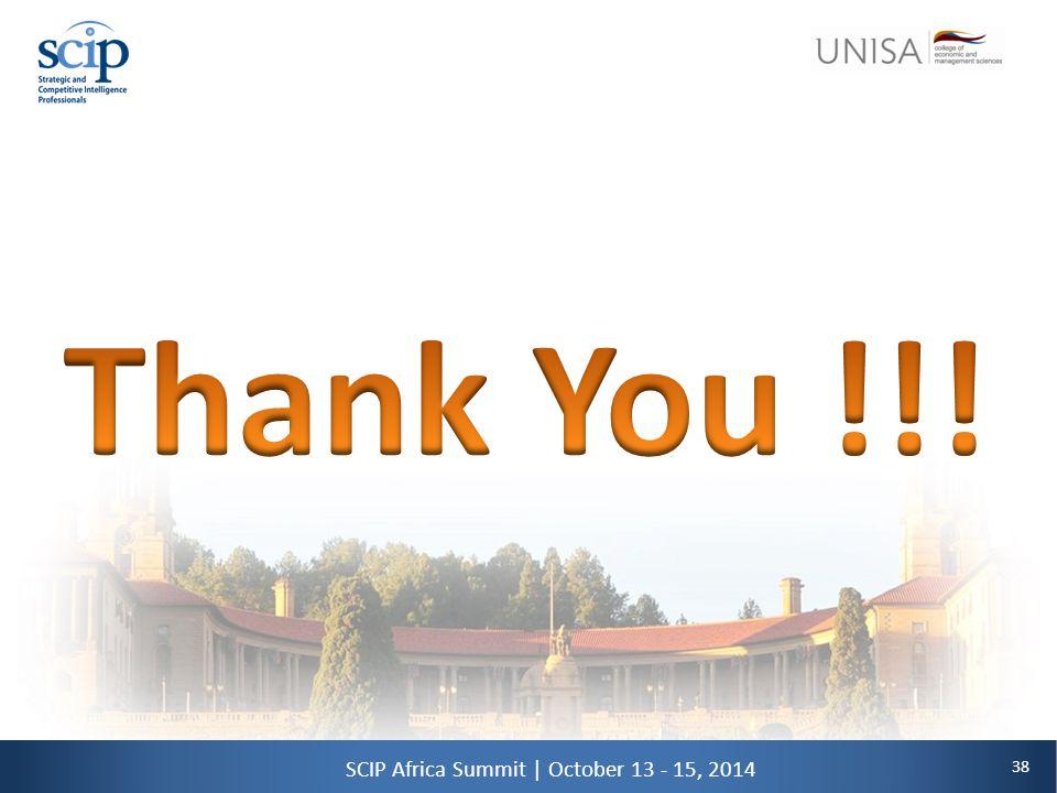 38 SCIP Africa Summit   October 13 - 15, 2014