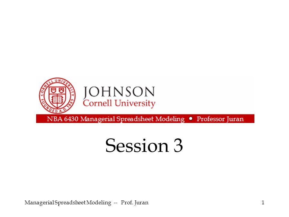 Managerial Spreadsheet Modeling -- Prof.Juran22 Eliminate links to other workbooks.