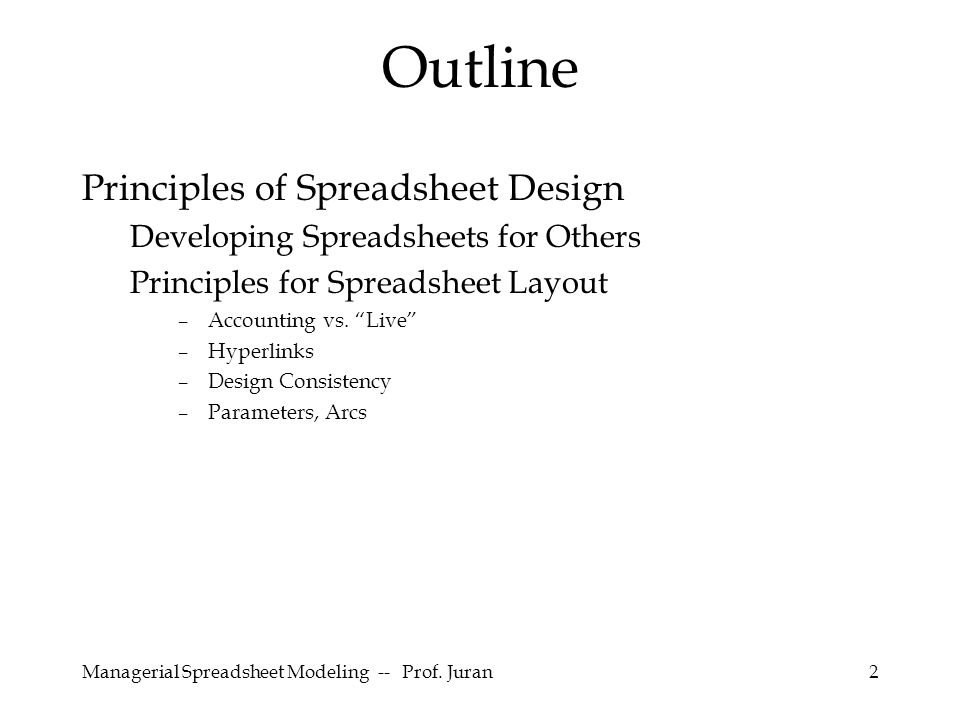 Managerial Spreadsheet Modeling -- Prof.Juran23 Make equations easy to read.