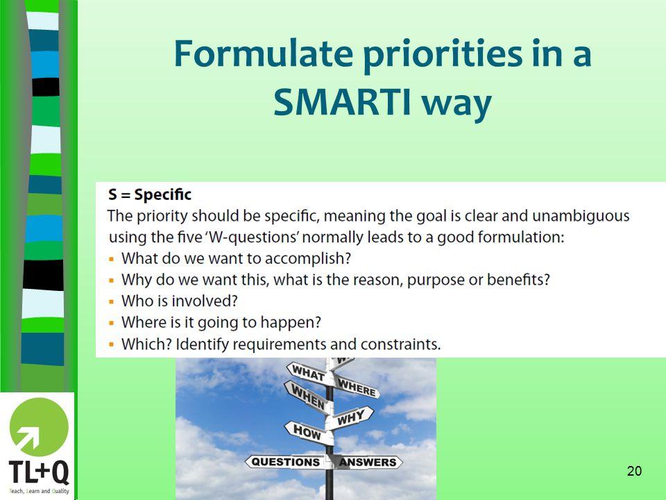 Formulate priorities in a SMARTI way 20