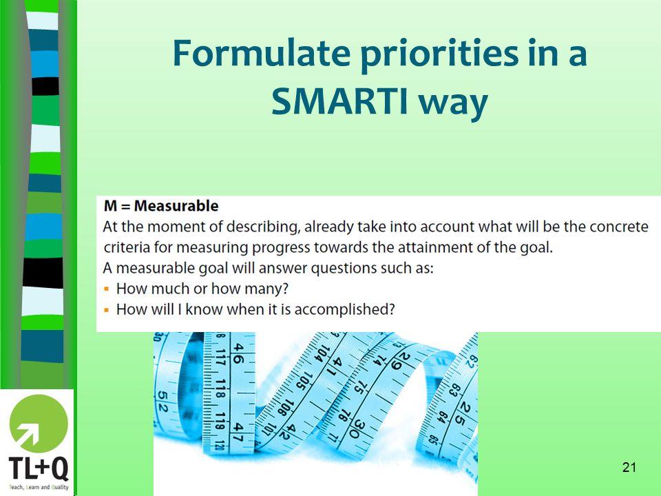 Formulate priorities in a SMARTI way 21