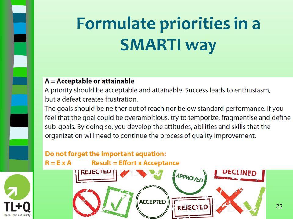 Formulate priorities in a SMARTI way 22