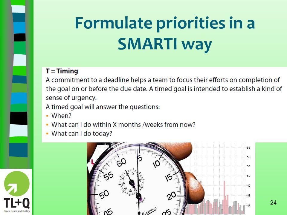 Formulate priorities in a SMARTI way 24