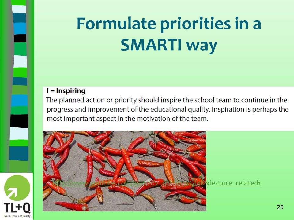 Formulate priorities in a SMARTI way 25 http://www.youtube.com/watch v=uThBb3kGf4k&feature=related1