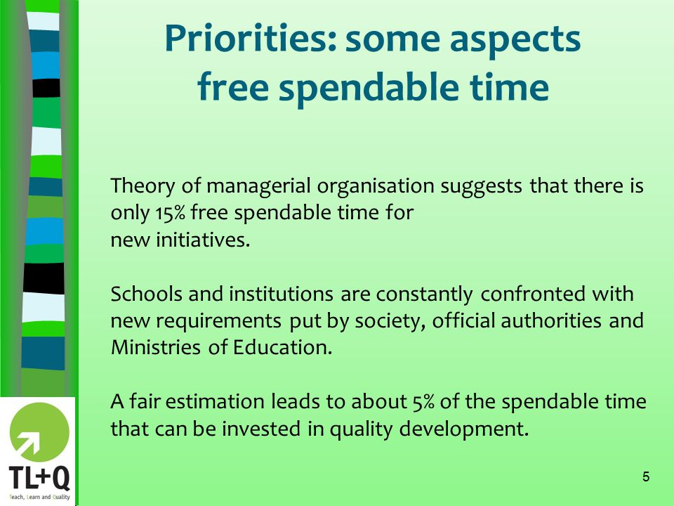 Priorities: some aspects Pareto's rule 6 A somewhat free interpretation of Pareto's rule : 'When your priorities are well chosen, 20% effort can lead to 80% result'.