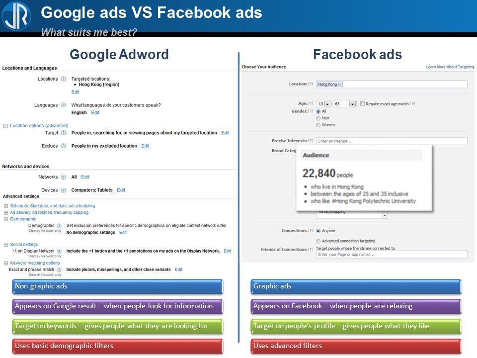 Google ads VS Facebook ads What suits me best Google AdwordFacebook ads
