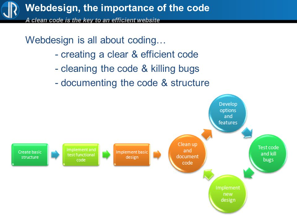 Webdesign, the importance of the code A clean code is the key to an efficient website Webdesign is all about coding… - creating a clear & efficient code - cleaning the code & killing bugs - documenting the code & structure - always making it faster & smoother - …