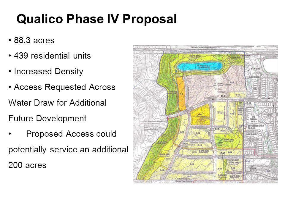 88.3 acres 439 residential units Increased Density Access Requested Across Water Draw for Additional Future Development Proposed Access could potentially service an additional 200 acres Qualico Phase IV Proposal
