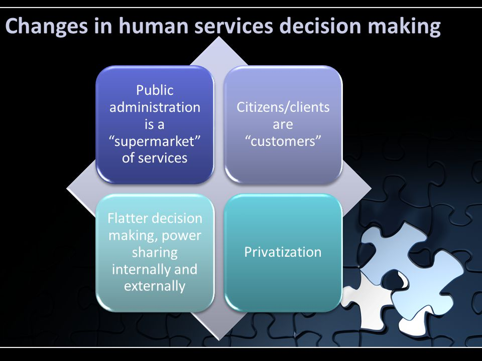 "Changes in human services decision making Public administration is a ""supermarket"" of services Citizens/clients are ""customers"" Flatter decision makin"