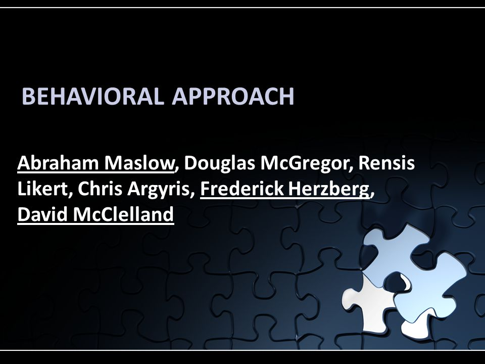 BEHAVIORAL APPROACH Abraham Maslow, Douglas McGregor, Rensis Likert, Chris Argyris, Frederick Herzberg, David McClelland