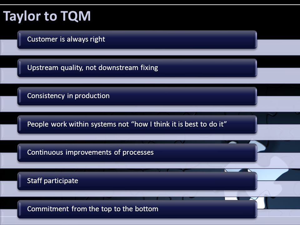 "Taylor to TQM Customer is always rightUpstream quality, not downstream fixingConsistency in productionPeople work within systems not ""how I think it i"