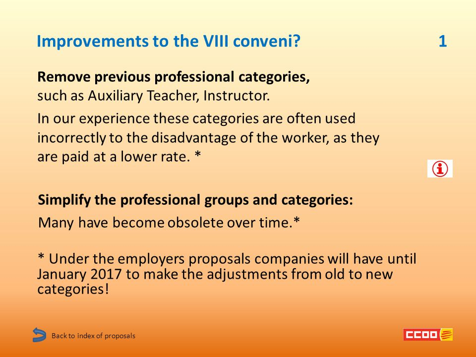 Improvements to the VIII conveni.