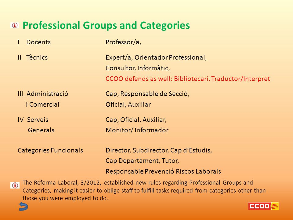 Professional Groups and Categories I DocentsProfessor/a, II TècnicsExpert/a, Orientador Professional, Consultor, Informàtic, CCOO defends as well: Bibliotecari, Traductor/Interpret III AdministracióCap, Responsable de Secció, i ComercialOficial, Auxiliar IV ServeisCap, Oficial, Auxiliar, GeneralsMonitor/ Informador Categories FuncionalsDirector, Subdirector, Cap d'Estudis, Cap Departament, Tutor, Responsable Prevenció Riscos Laborals The Reforma Laboral, 3/2012, established new rules regarding Professional Groups and Categories, making it easier to oblige staff to fulfill tasks required from categories other than those you were employed to do..