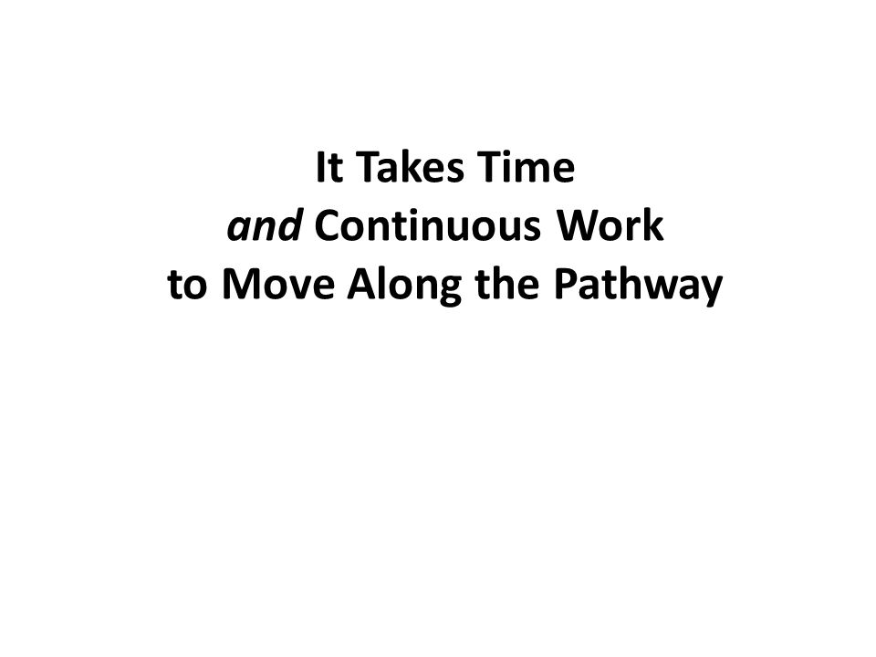 It Takes Time and Continuous Work to Move Along the Pathway