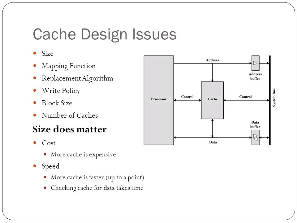 Cache Design Issues Size Mapping Function Replacement Algorithm Write Policy Block Size Number of Caches Size does matter Cost More cache is expensive