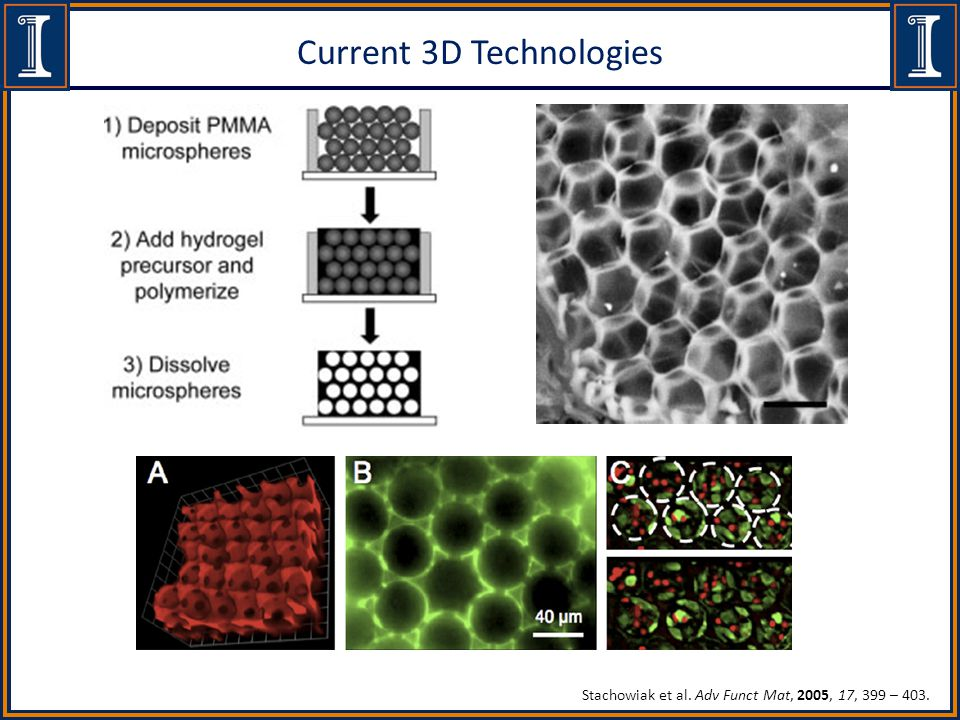 Current 3D Technologies Stachowiak et al. Adv Funct Mat, 2005, 17, 399 – 403.